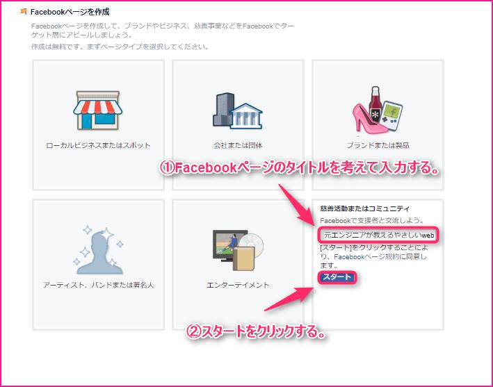 Facebook(フェイスブック)ページの作り方の説明画像3