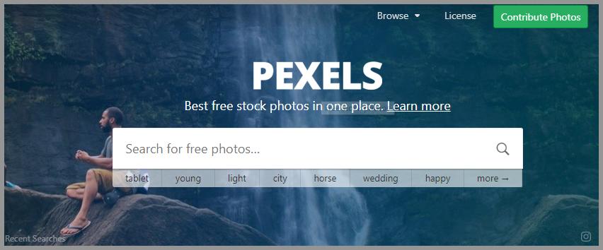 pexelsのTOPページの画像